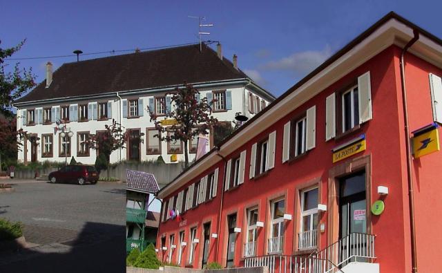 Mairie de Waldighoffen sous 2 formes, avant et après la dernière transformation de sa façade