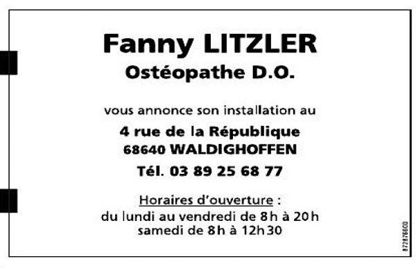 Annonce Cabinet d'Ostéopathie Fanny Litzler Waldighoffen dans l'Alsace