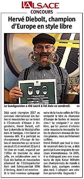 L'Alsace Hervé Diebolt en page Région le 27 juin 2018