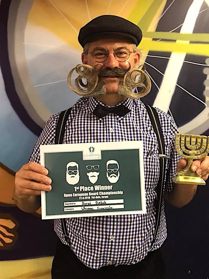 Hervé Diebolt, Champion d'Europe Barbe et Moustaches, catégorie Freestyle à Tel Aviv-Jaffa, en Israël