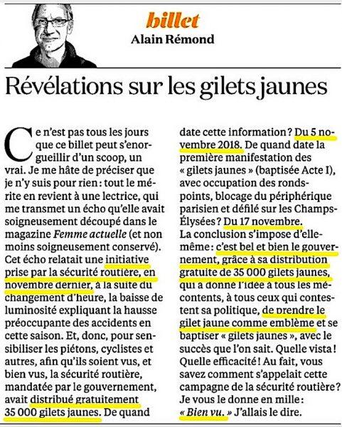 Billet Alain Rémond 28 janvier 2019 Gilets jaunes