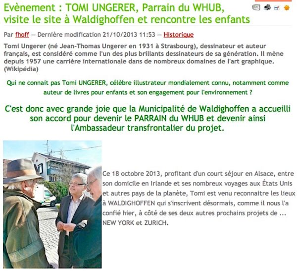 Visite de Tomi Ungerer à Waldighoffen en octobre 2013-1